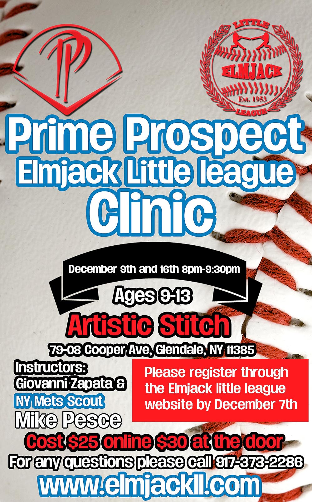 Prime Prospect Winter Indoor Baseball Clinic, Queens NY (Artistic Stitch Sports Complex)