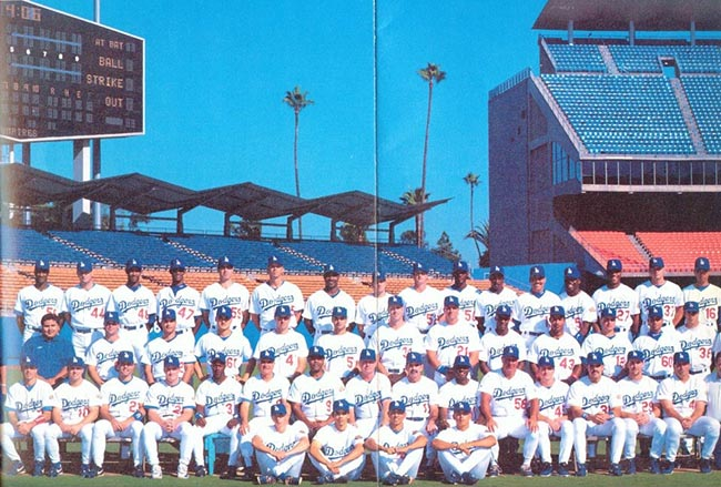 Oreste Marrero with teammates on official Los Angeles Dodgers 1996 photo