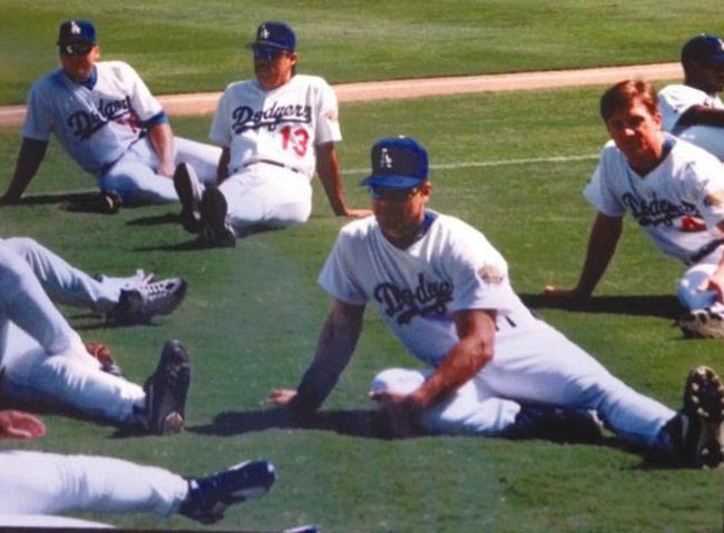 Oreste Marrero stretching before the game at Dodgers Stadium
