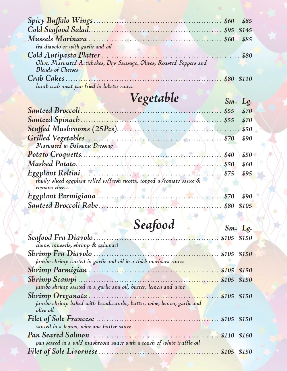 Catering Menu in Queens Page 4