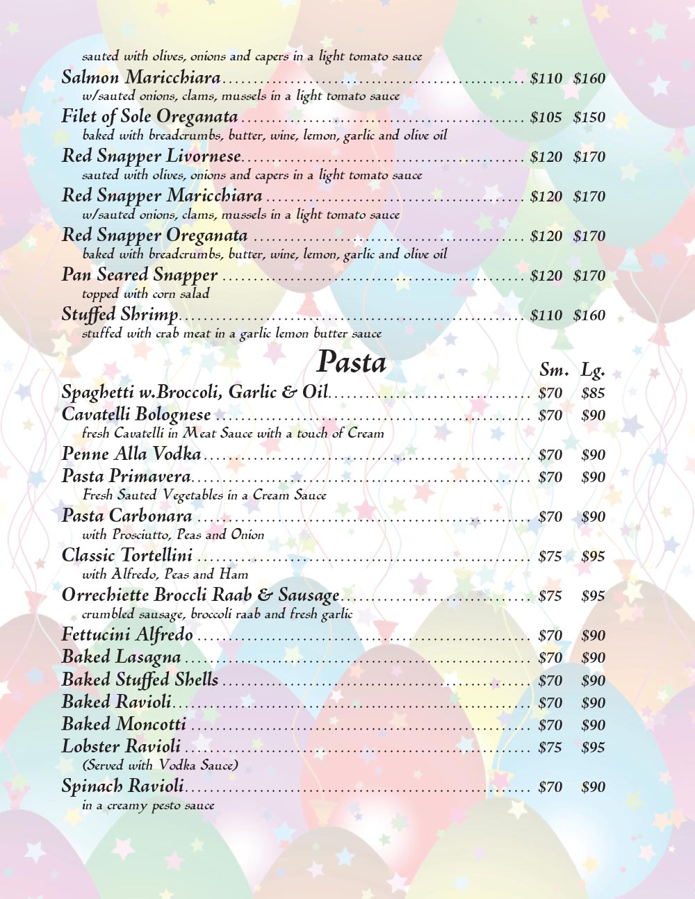 Catering Menu in Queens Page 5